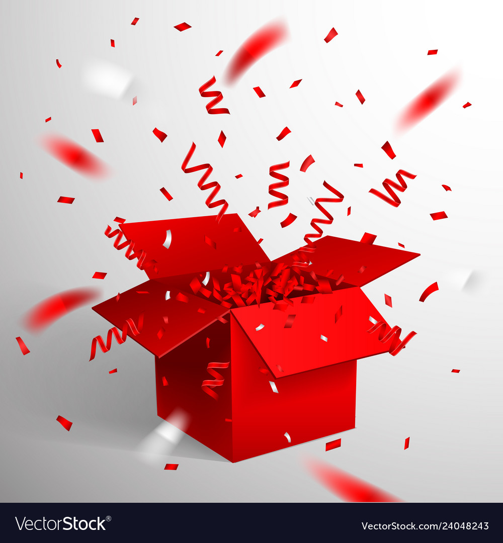 red gift box and confetti christmas