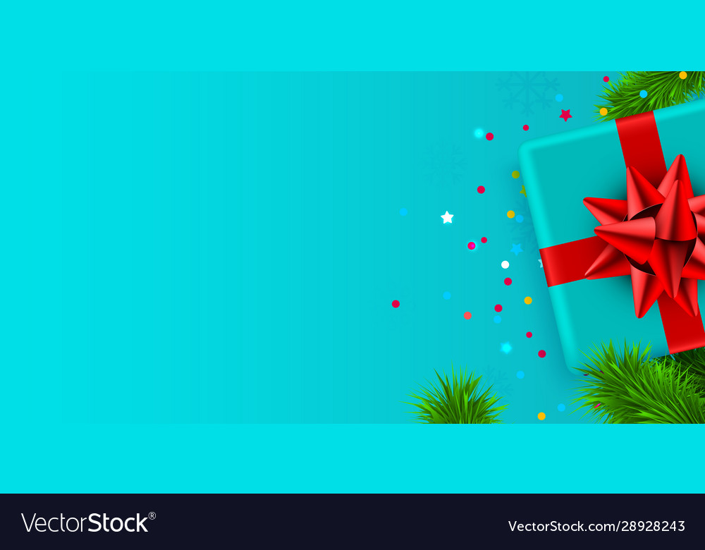 Present box with red ribbon and christmas tree