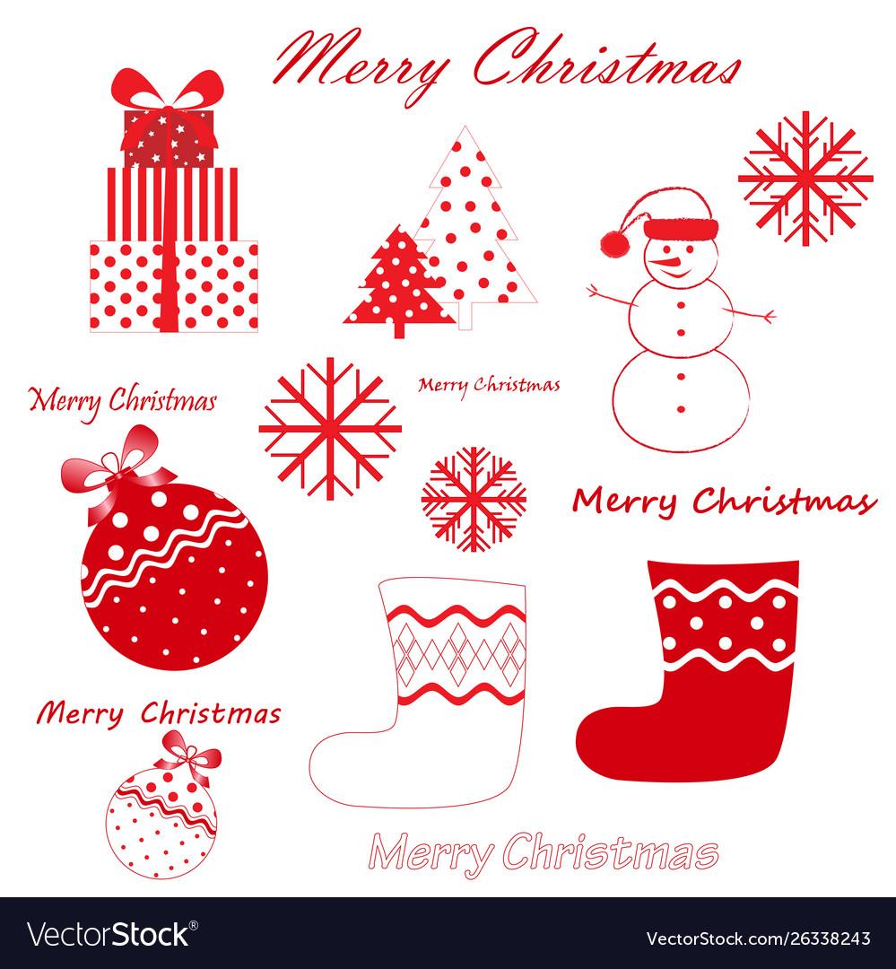 Set red christmas and new year simbols