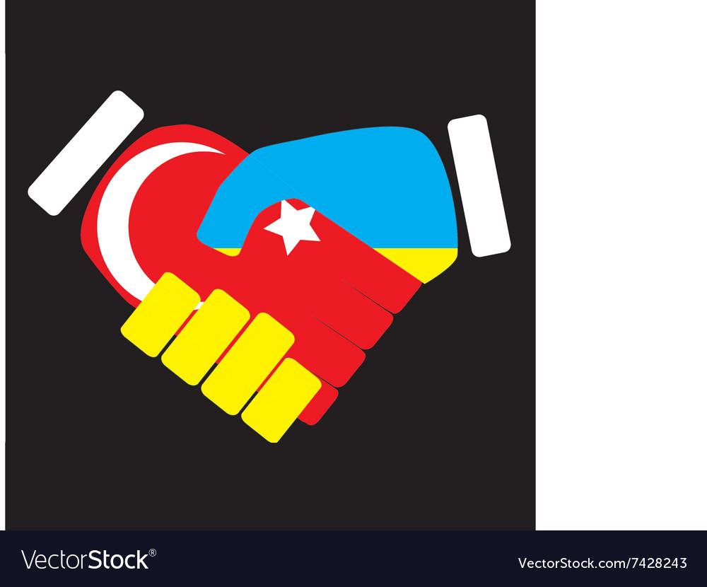 Symbol sign handshake Turkey and Ukraine