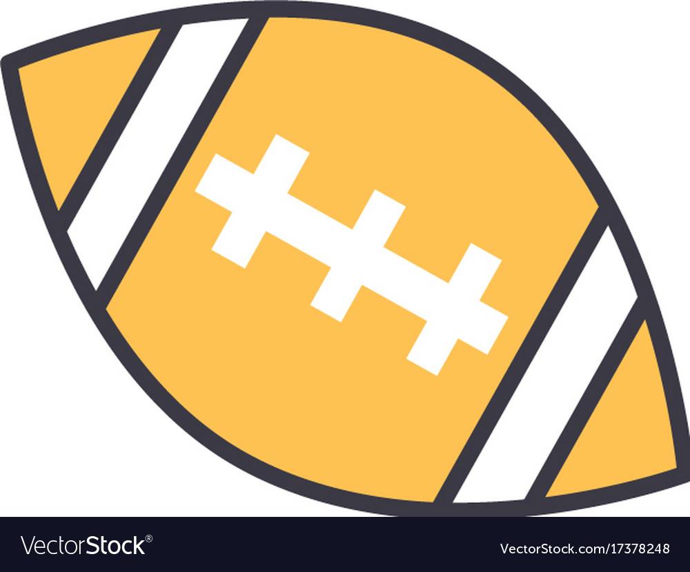 American football ball flat line vector image