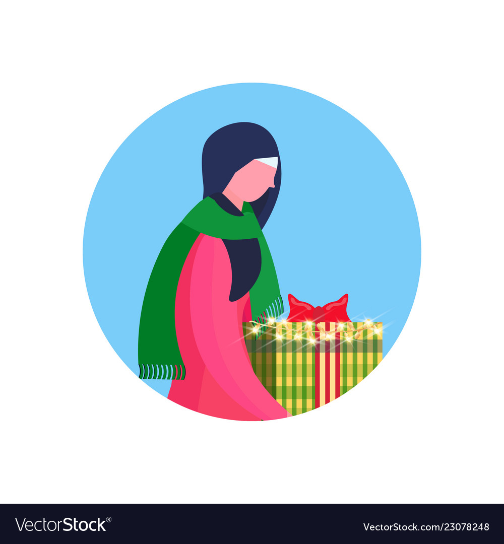 Arab woman traditional clothes hold gift box happy