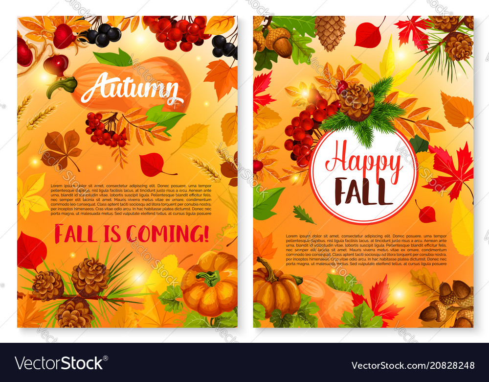 Autumn leaf fall season greeting cards royalty free vector autumn leaf fall season greeting cards vector image m4hsunfo