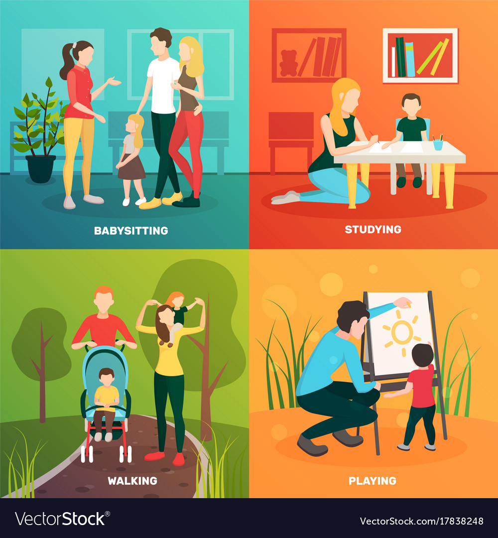 Child nurse family design concept vector image