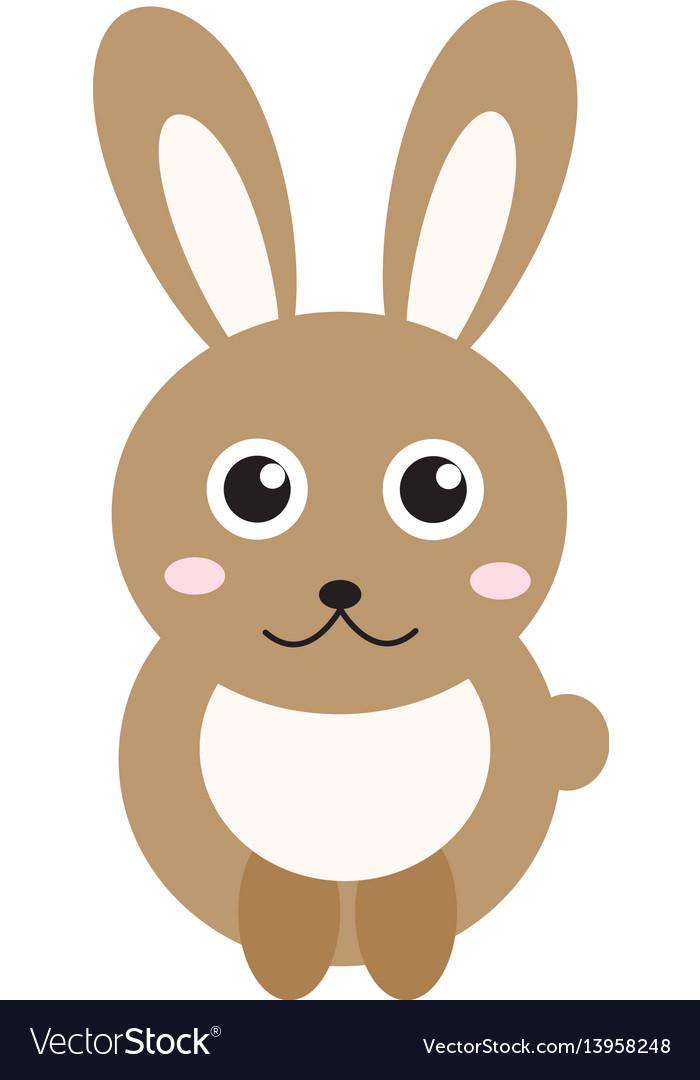 Cute bunny icon flat stylerabbit isolated on