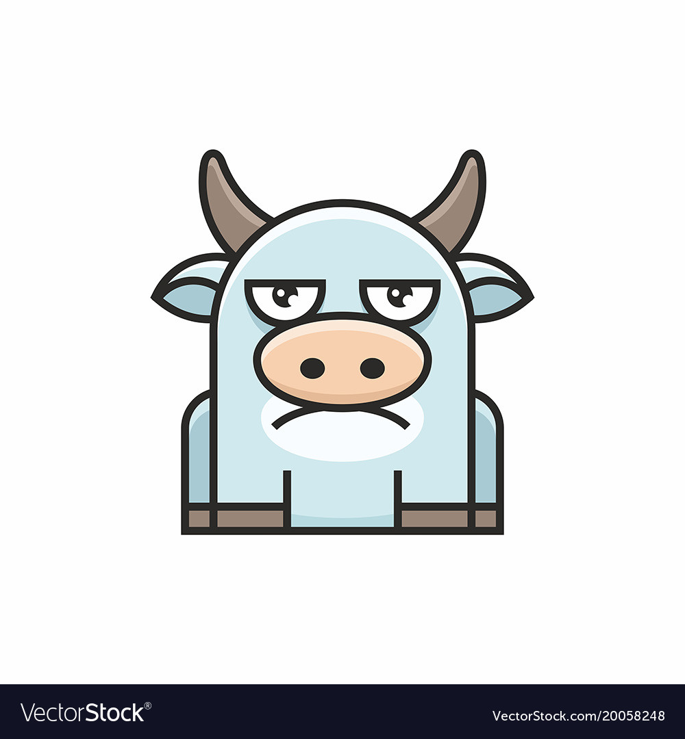 Cute cow icon on white background