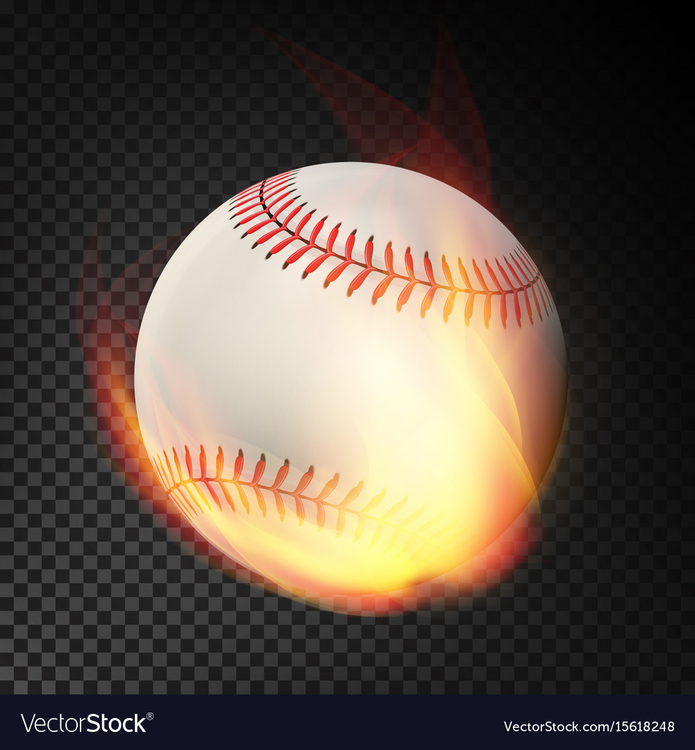 Flaming realistic baseball ball on fire flying