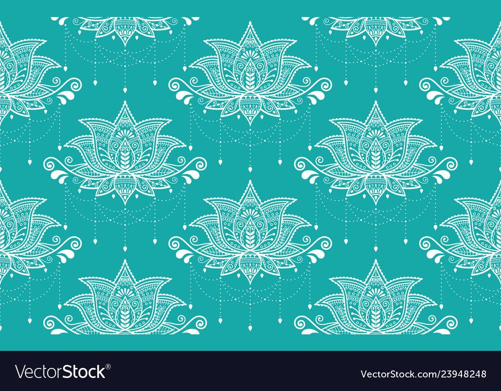 Indian lotus flower seamless pattern