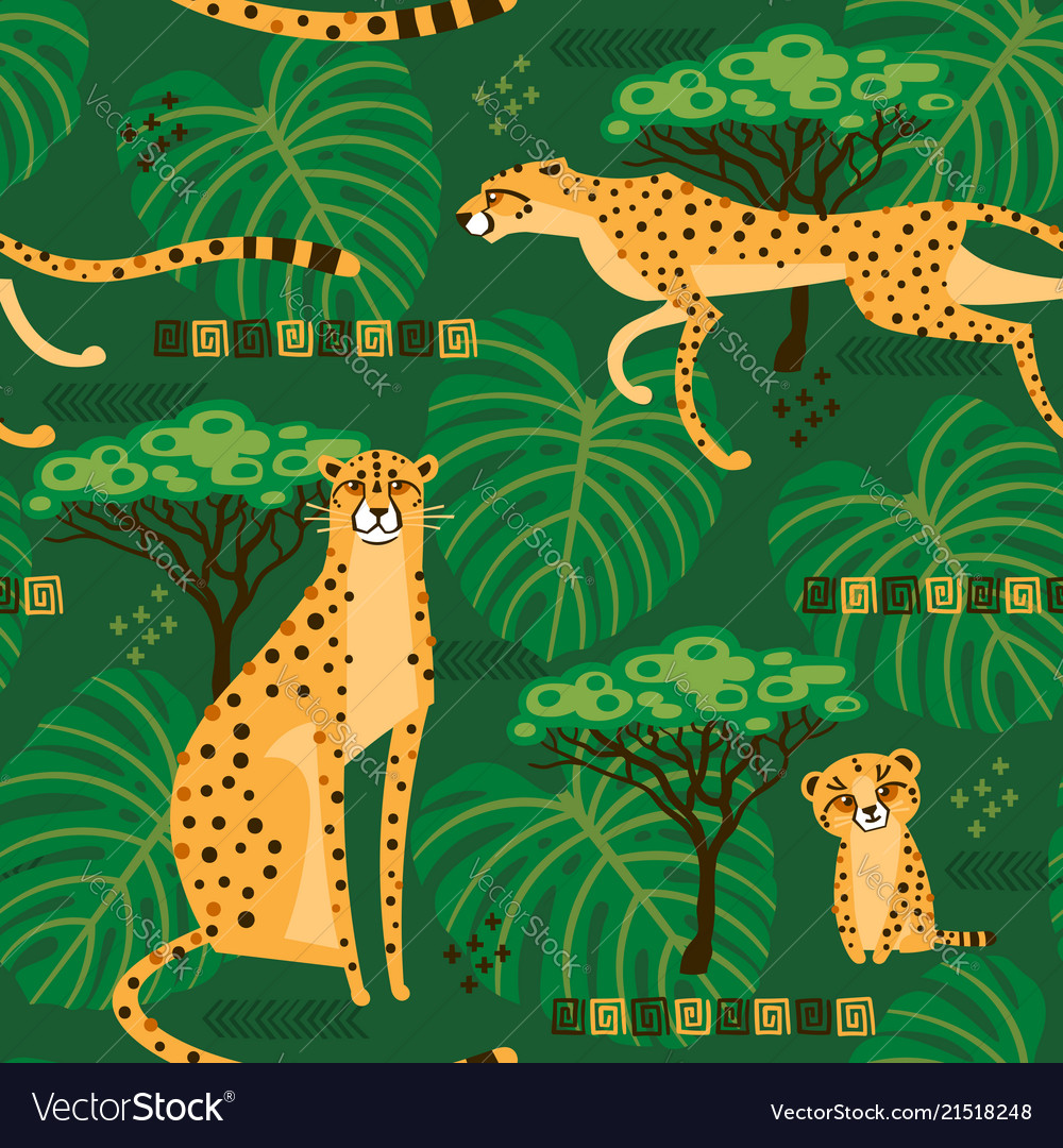 Seamless pattern with cheetahs leopards in the