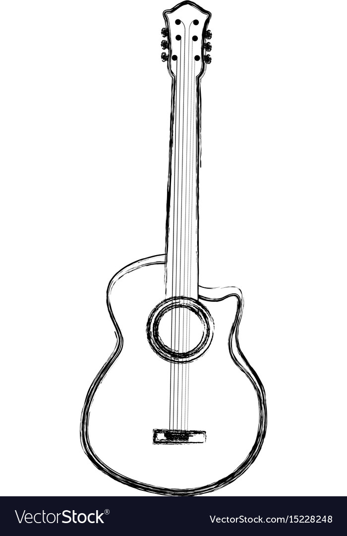 Sketch Draw Guitar Cartoon Royalty Free Vector Image