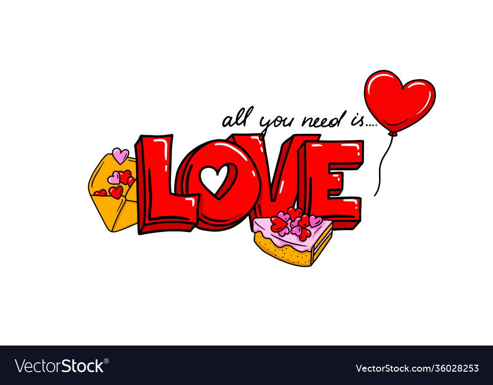 All you need is love phrase design valentine s
