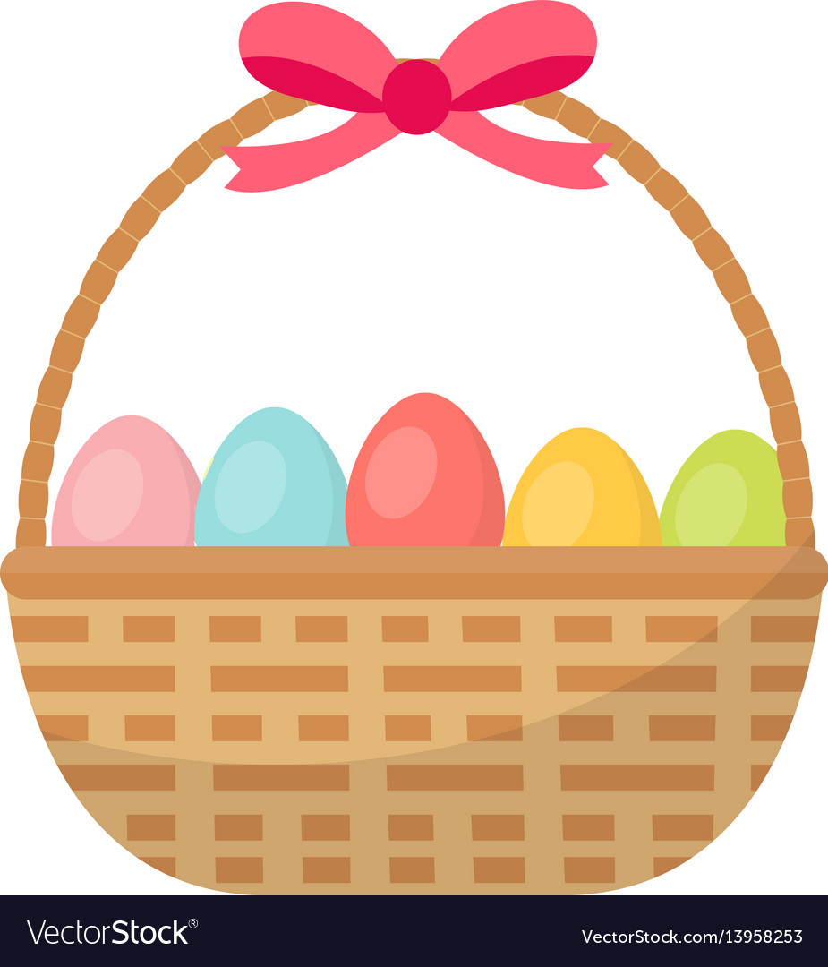 Basket with painted eggs easter basket icon flat