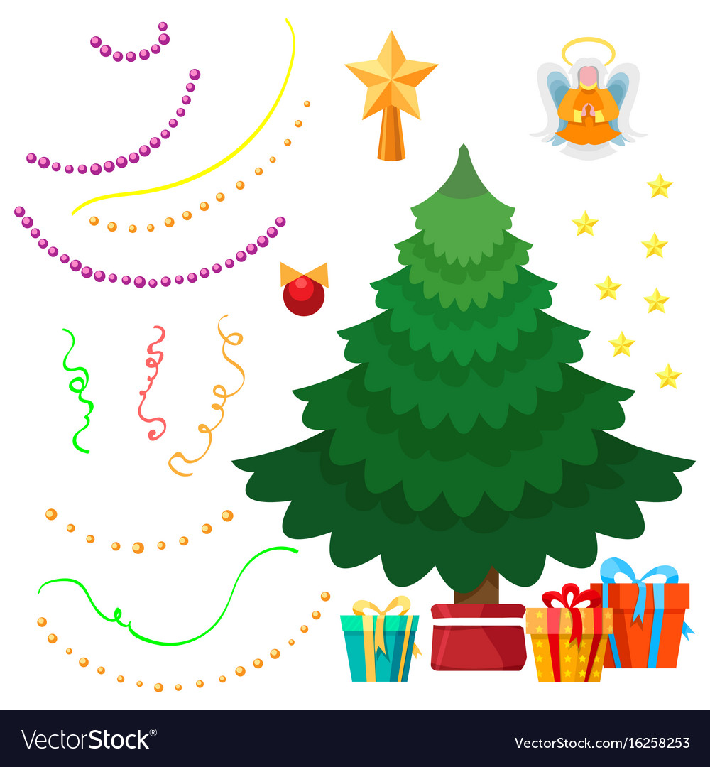 Christmas tree and decorations set