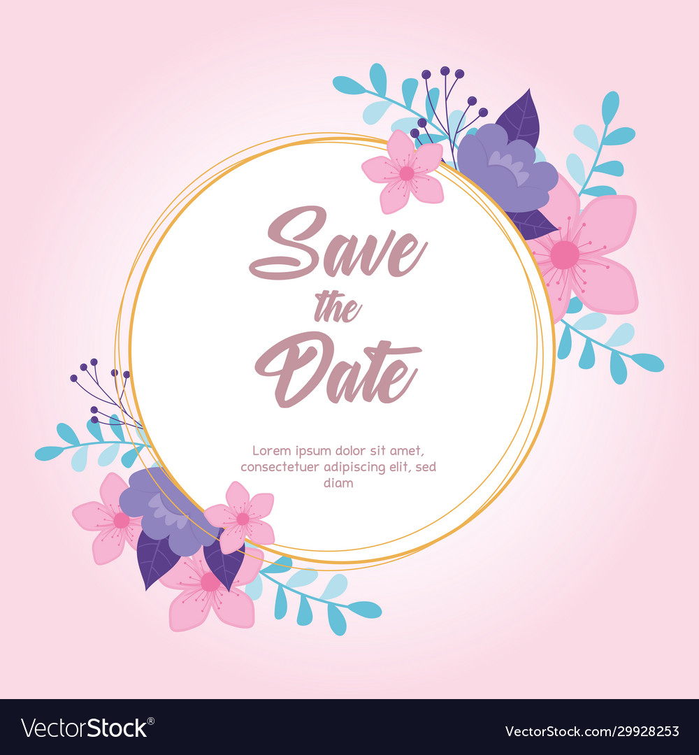 Flowers wedding save date label floral