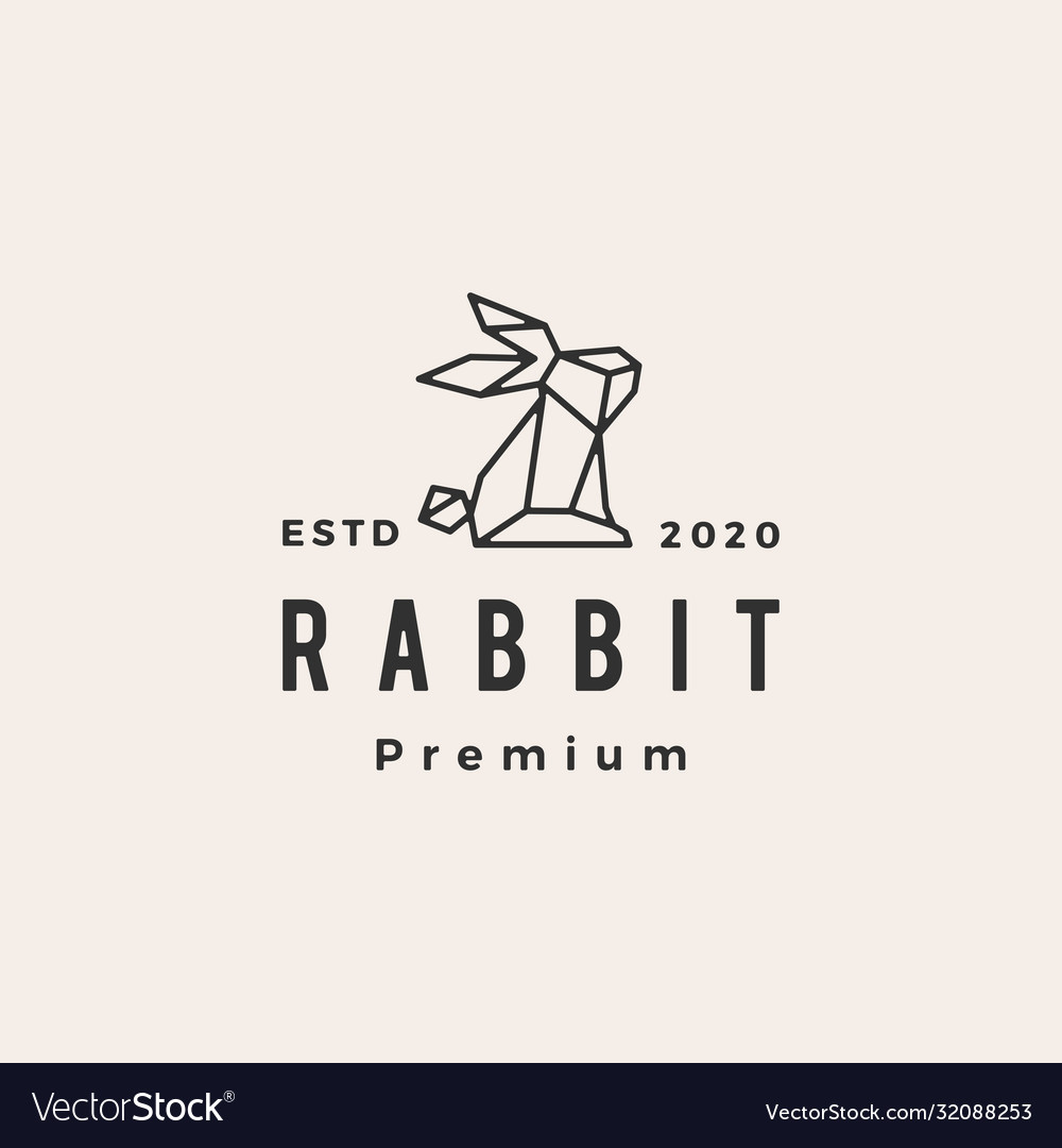 Geometric rabbit hare bunny hipster vintage logo