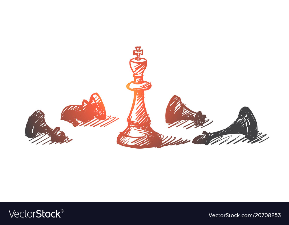 Hand drawn chess figures with king in center vector image