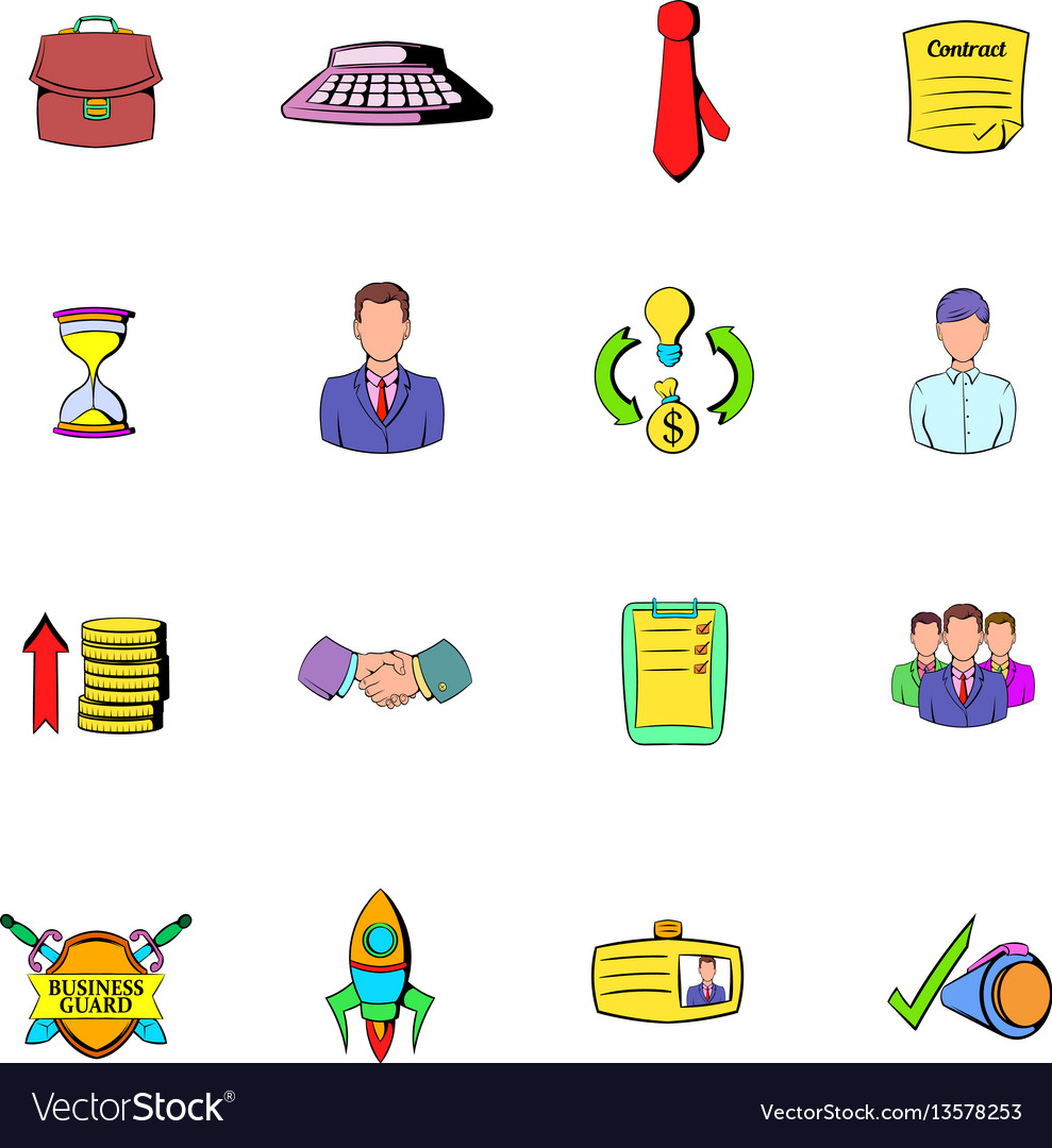 Office and business icons set cartoon