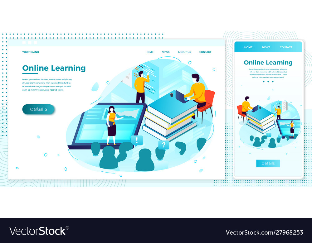 Online school learning process browser set