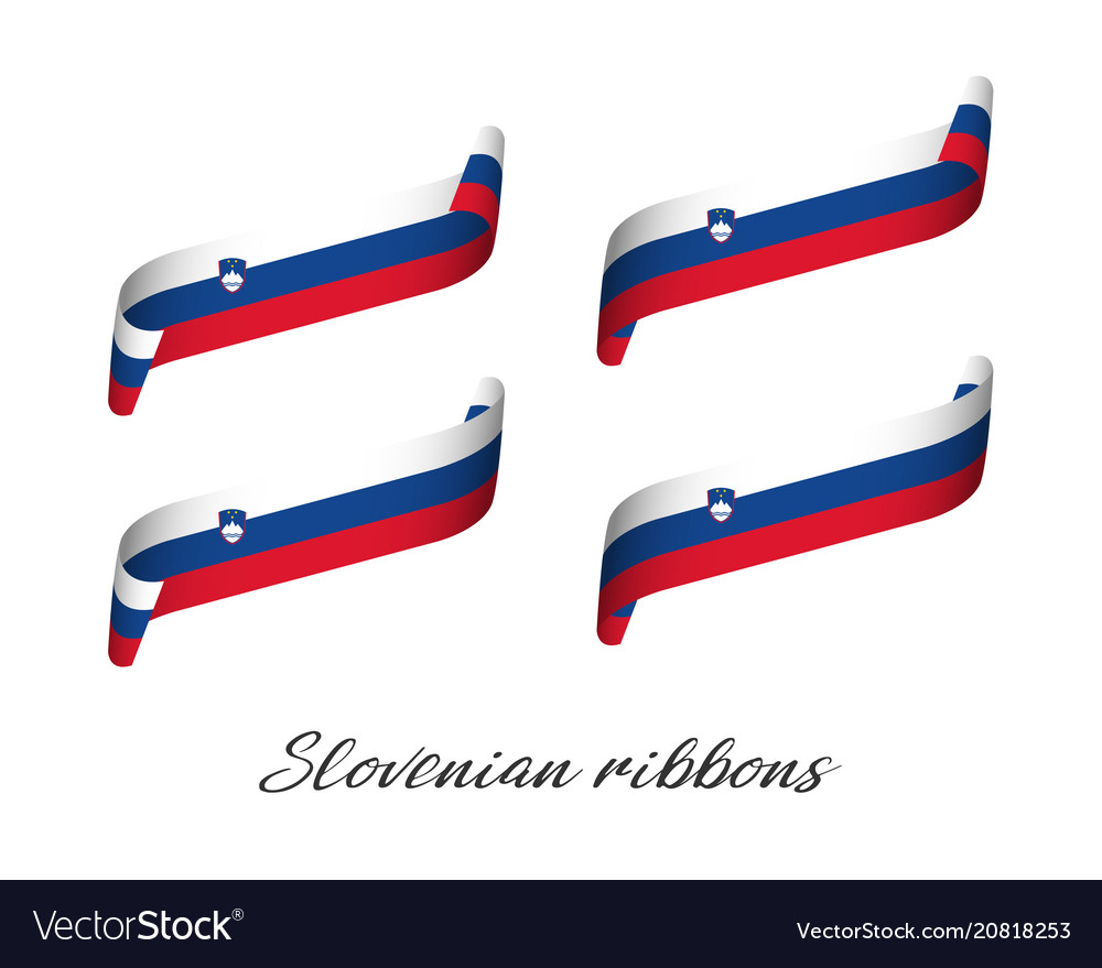 Set of four modern colored slovenian ribbons