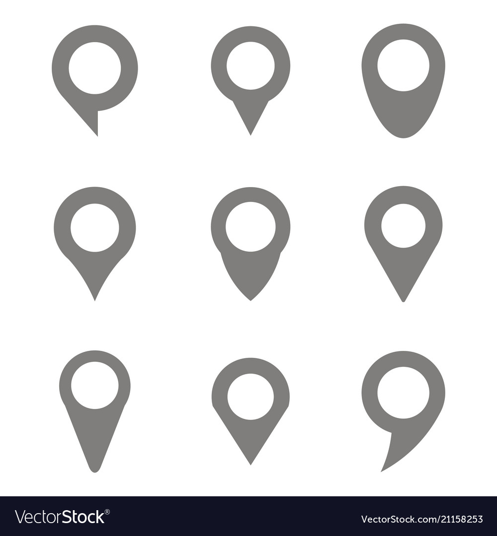 Set of monochrome icons with navigation pins