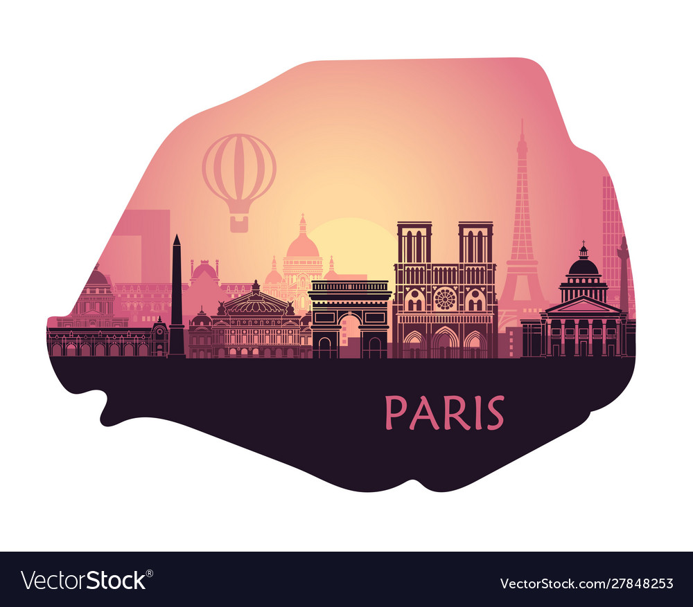Stylized landscape paris in form a map