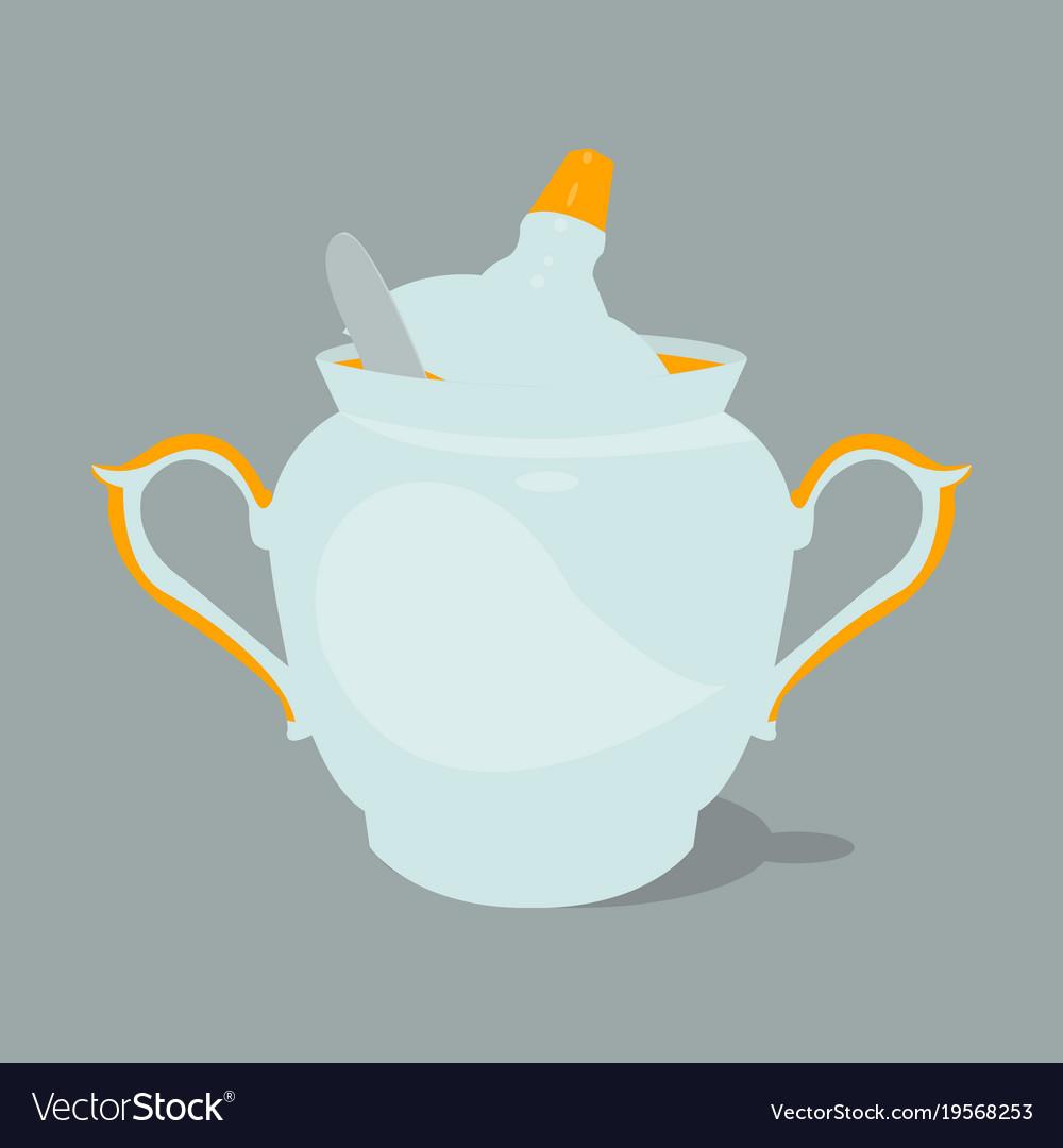 Sugar Bowl With Spoon Vector Image