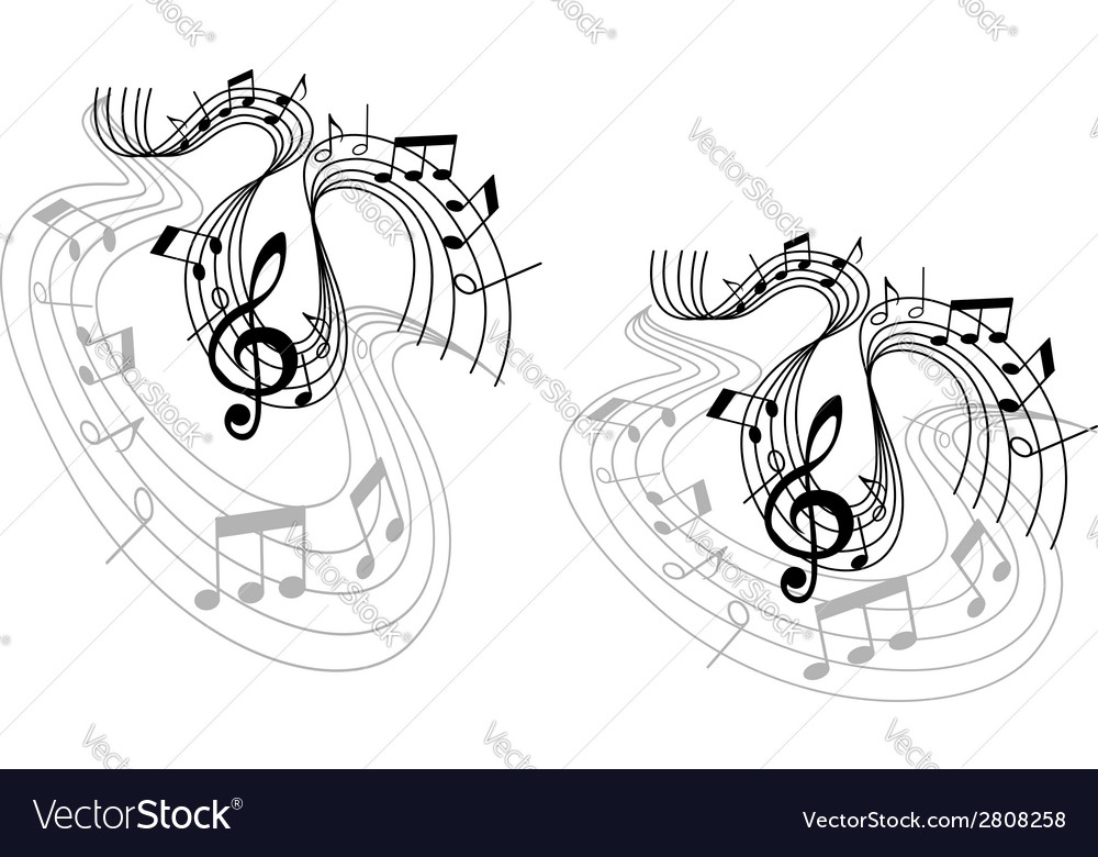 Abstract musical waves compositions vector image