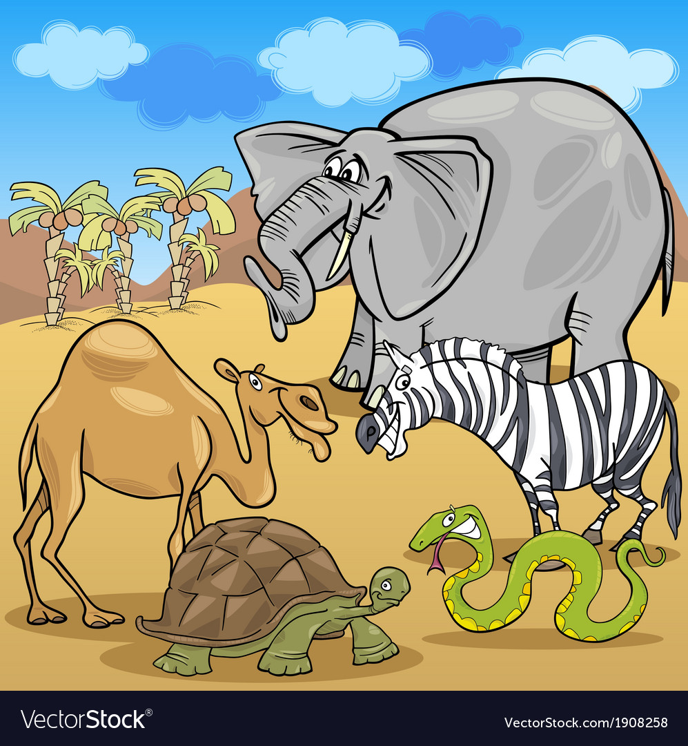 African safari animals cartoon