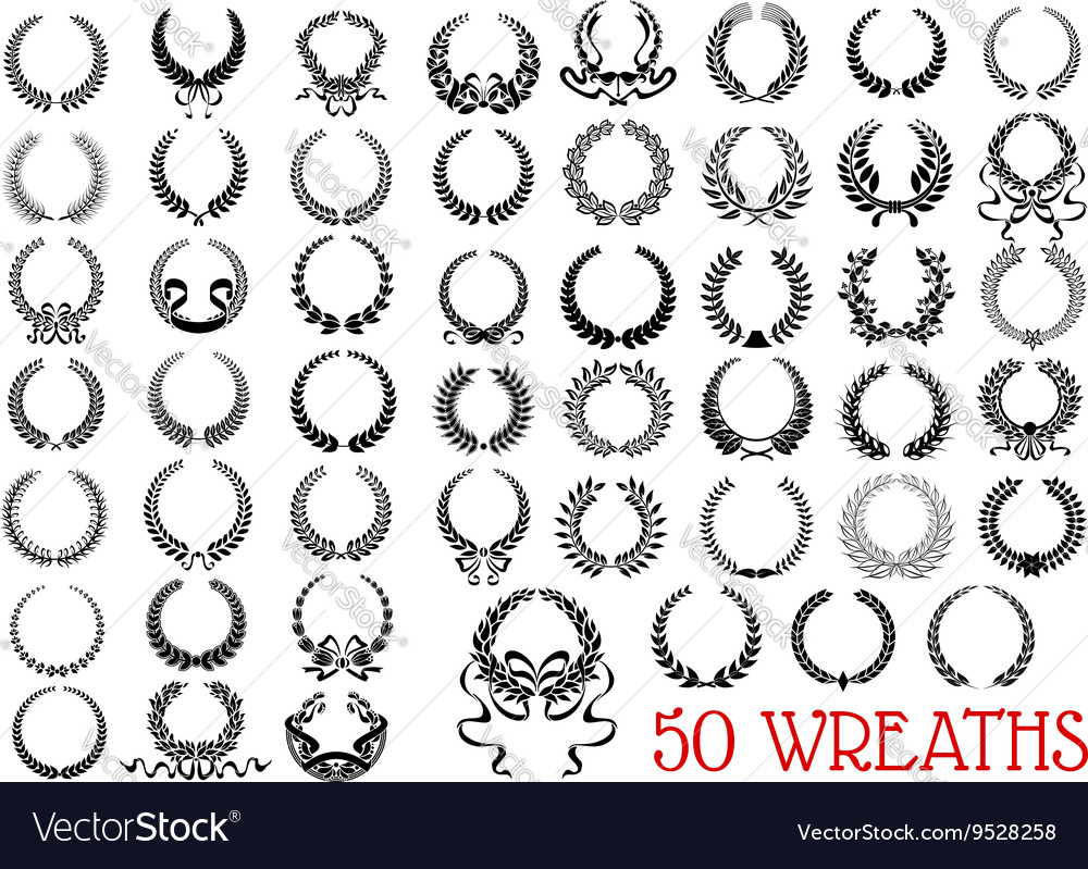 Black heraldic olive and laurel wreaths icons