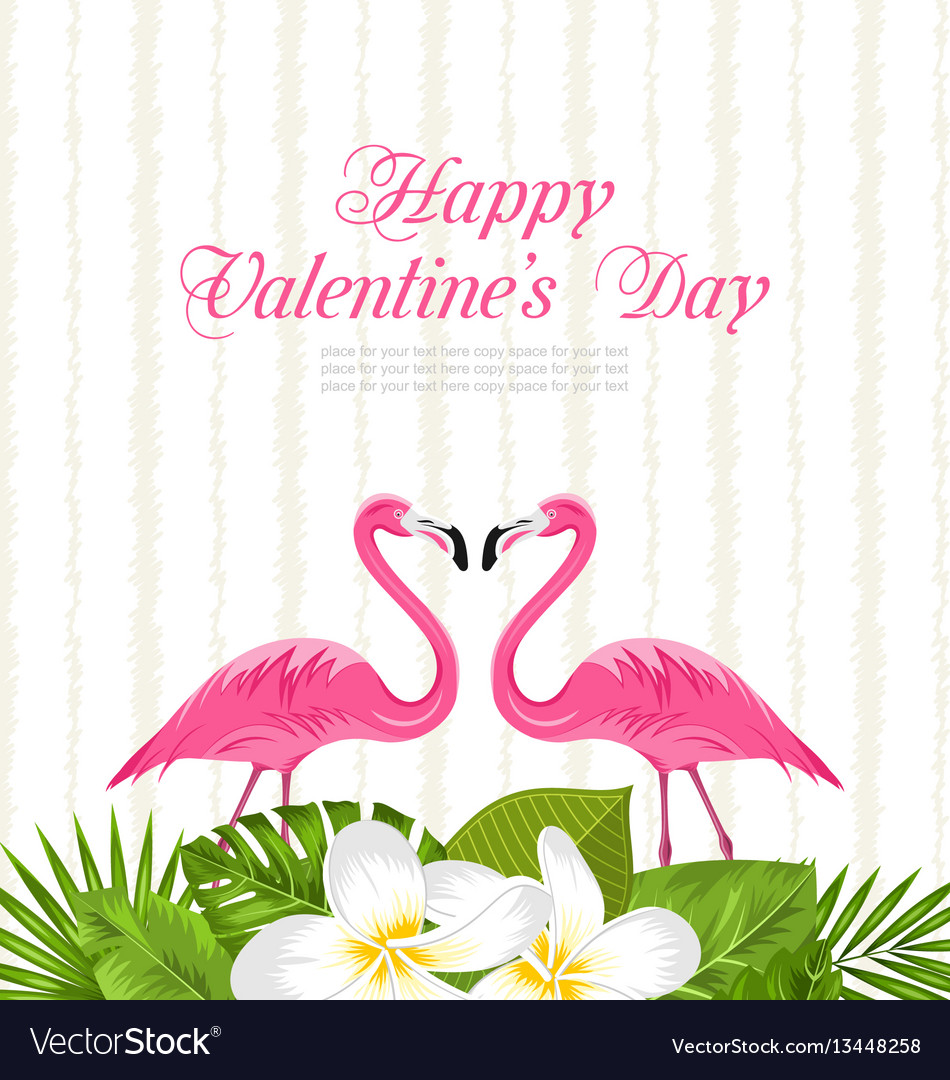 Cute card with pink flamingos and green leaves for