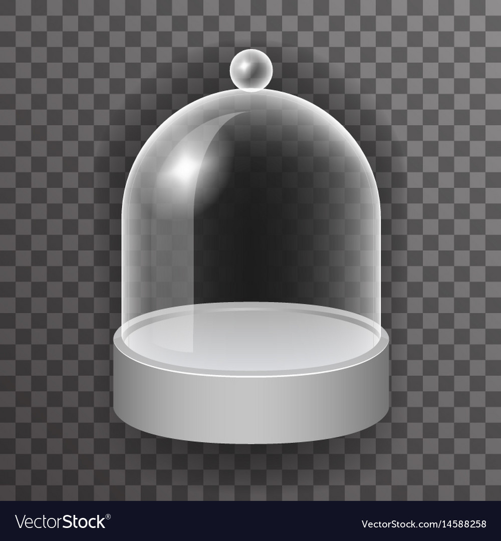 Dome glass showcase box isolated 3d realistic shop