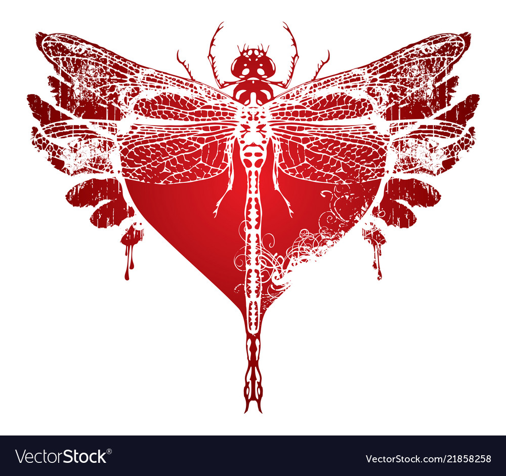 Dragonfly with abstract flying heart with wings