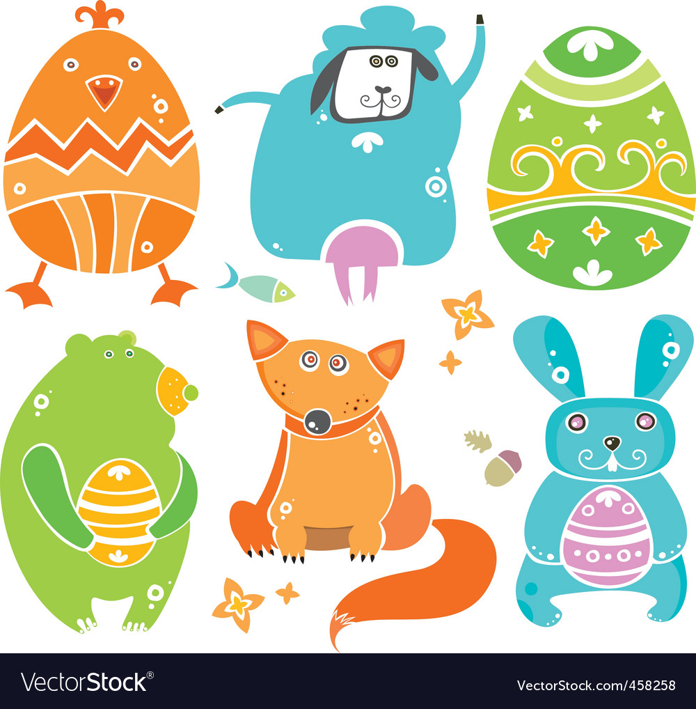 Easter cute set of animals
