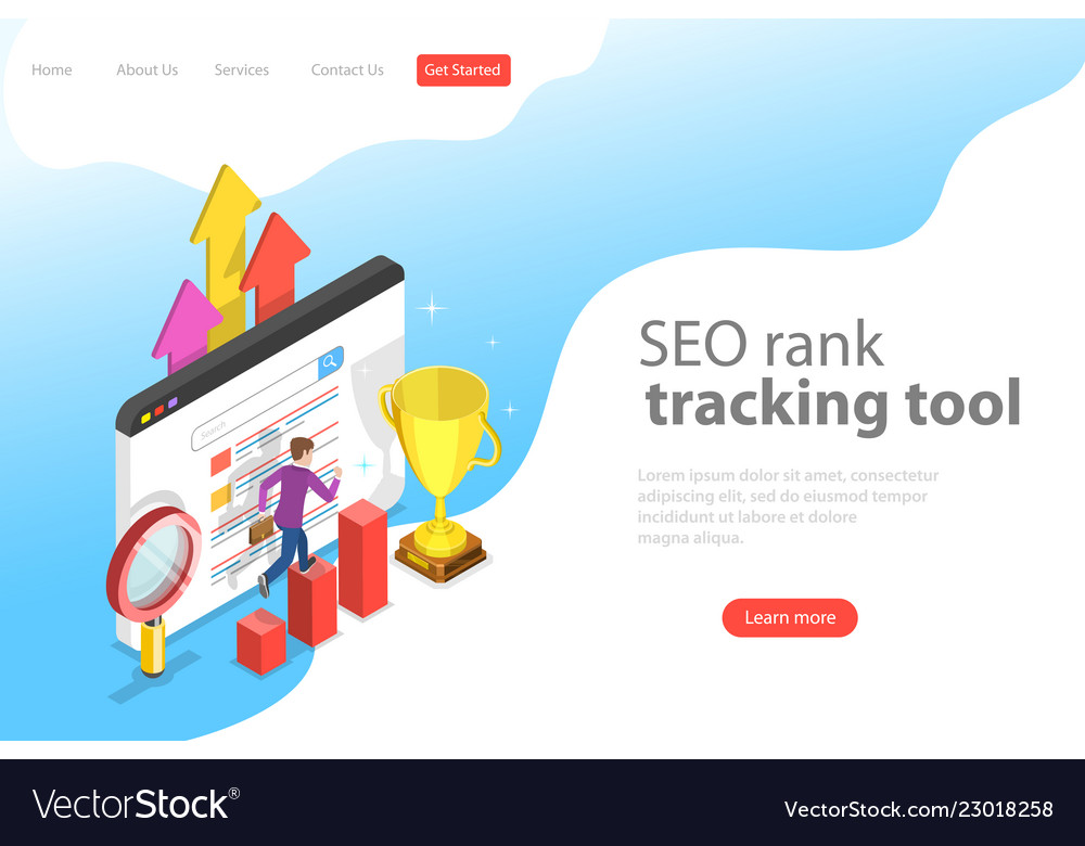Flat isometric landing page template of seo