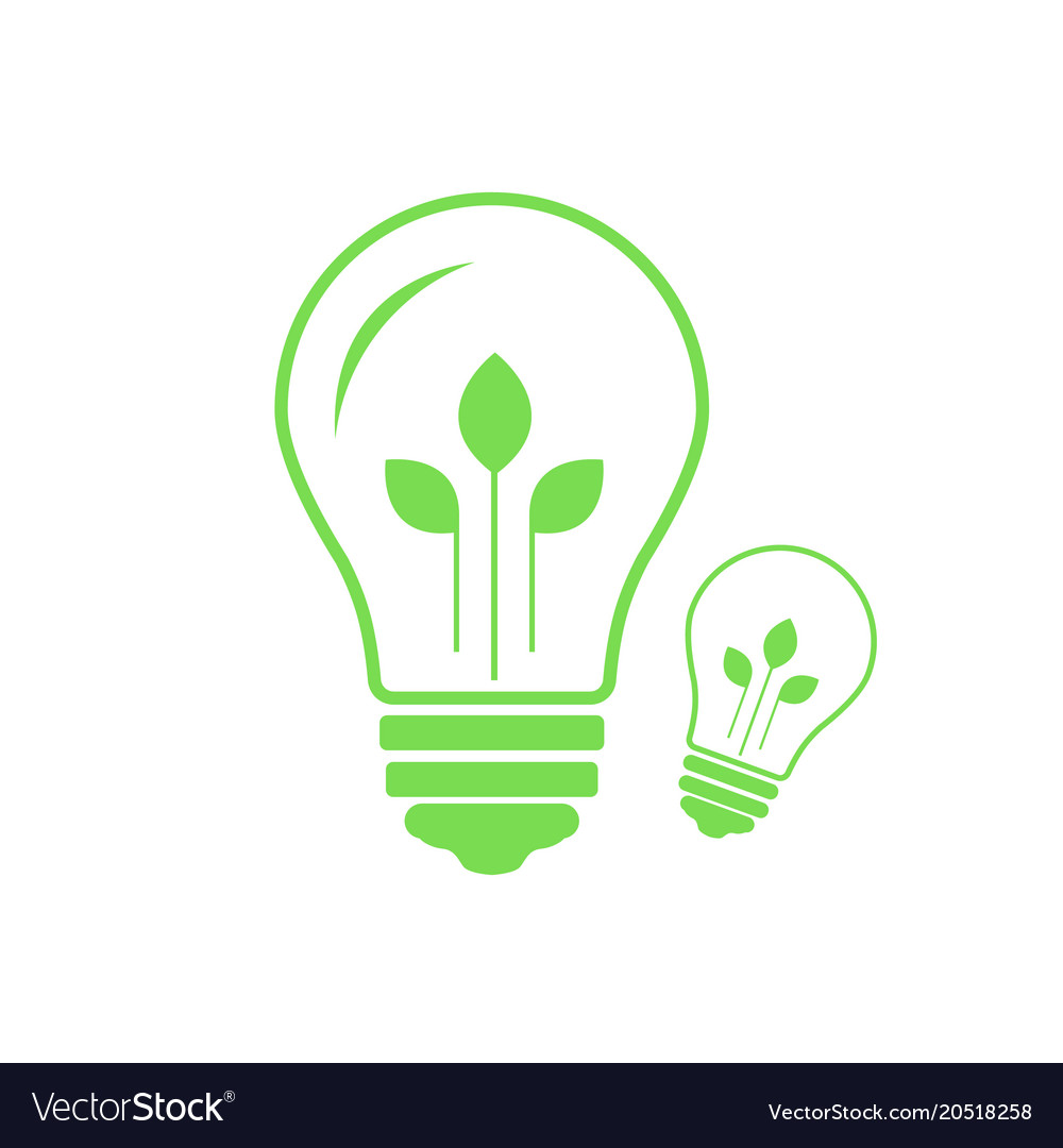 Green contour of electric light bulb with three