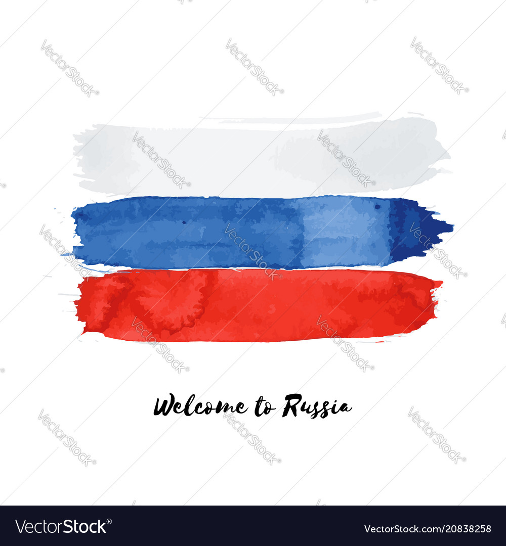 Russia watercolor national country flag icon