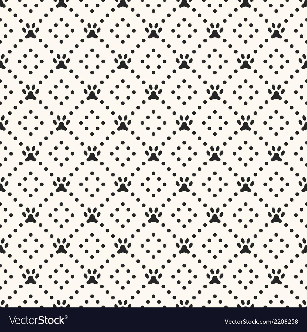 Seamless animal pattern of paw footprint and dot