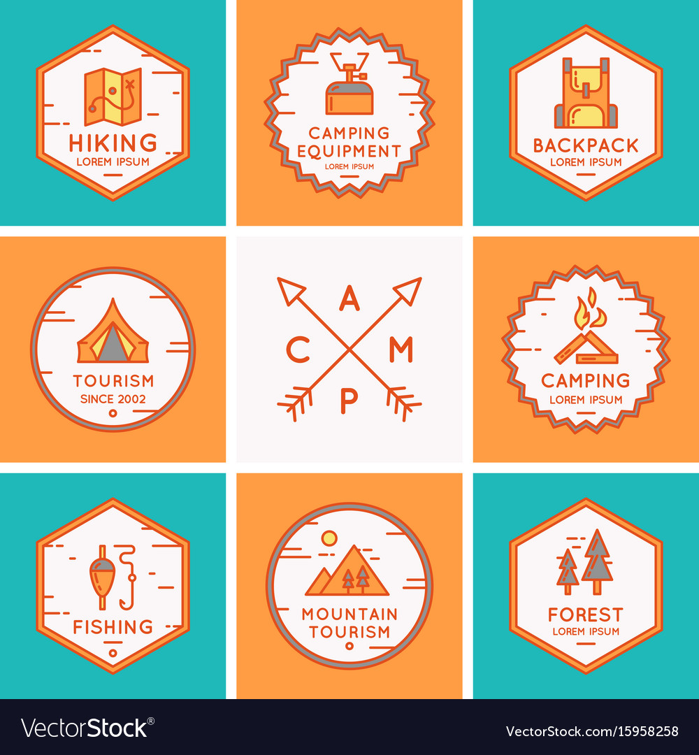 Set of logos and symbols for camping