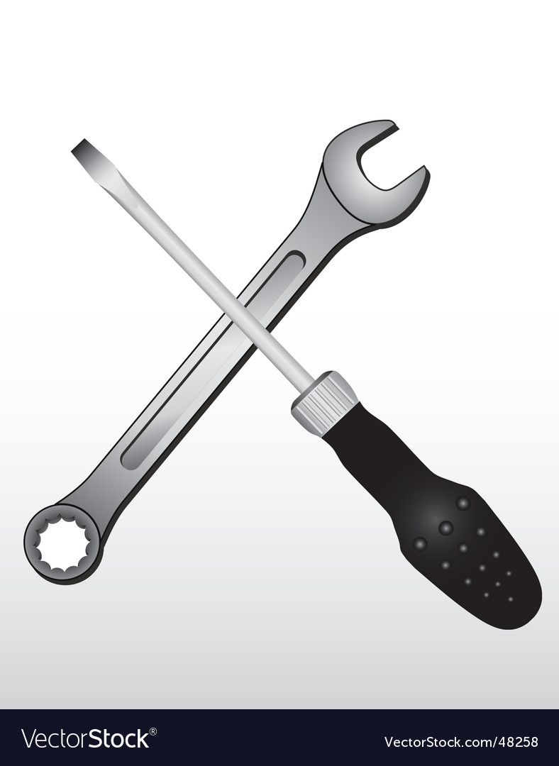 Spanner and screw driver vector image