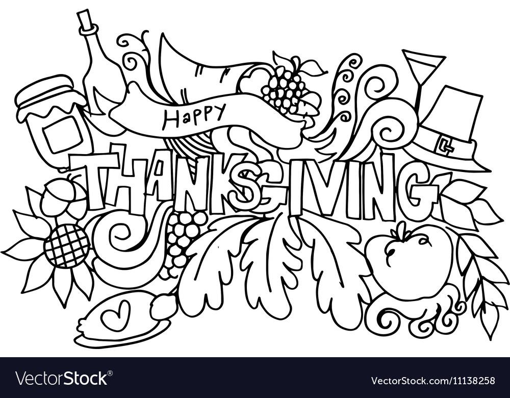 Thanksgiving Hand Draw Doodle Art
