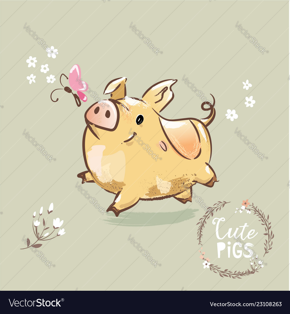 2019 year symbol pig cute new year sign for