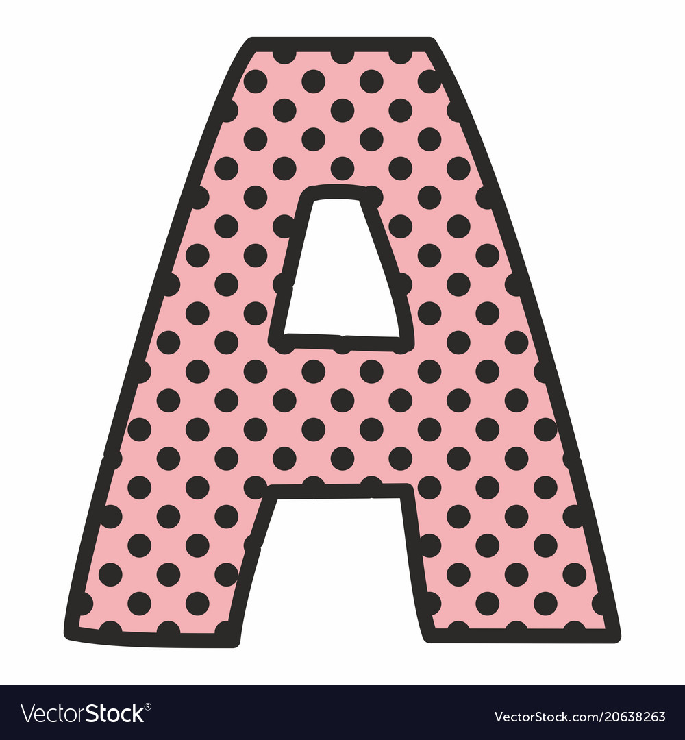polka dot letters a alphabet letter with black polka dots on pink vector image 24021 | a alphabet letter with black polka dots on pink vector 20638263