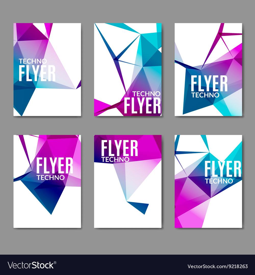 Abstract technology polygonal flyer set Modern