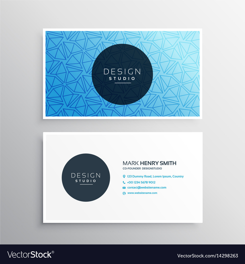 Template For Business Cards | Blue Business Card Template With Triangle Patterns