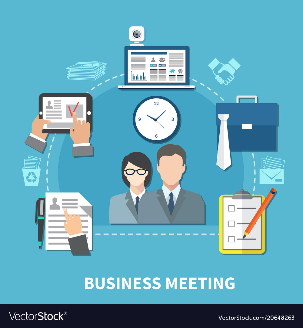 Business items colored composition vector image