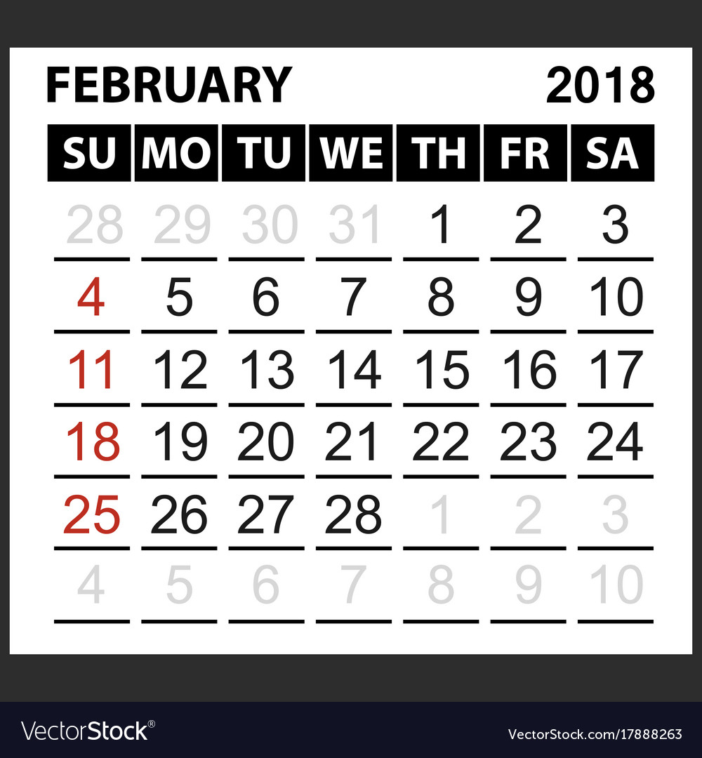 calendar sheet february 2018 vector image