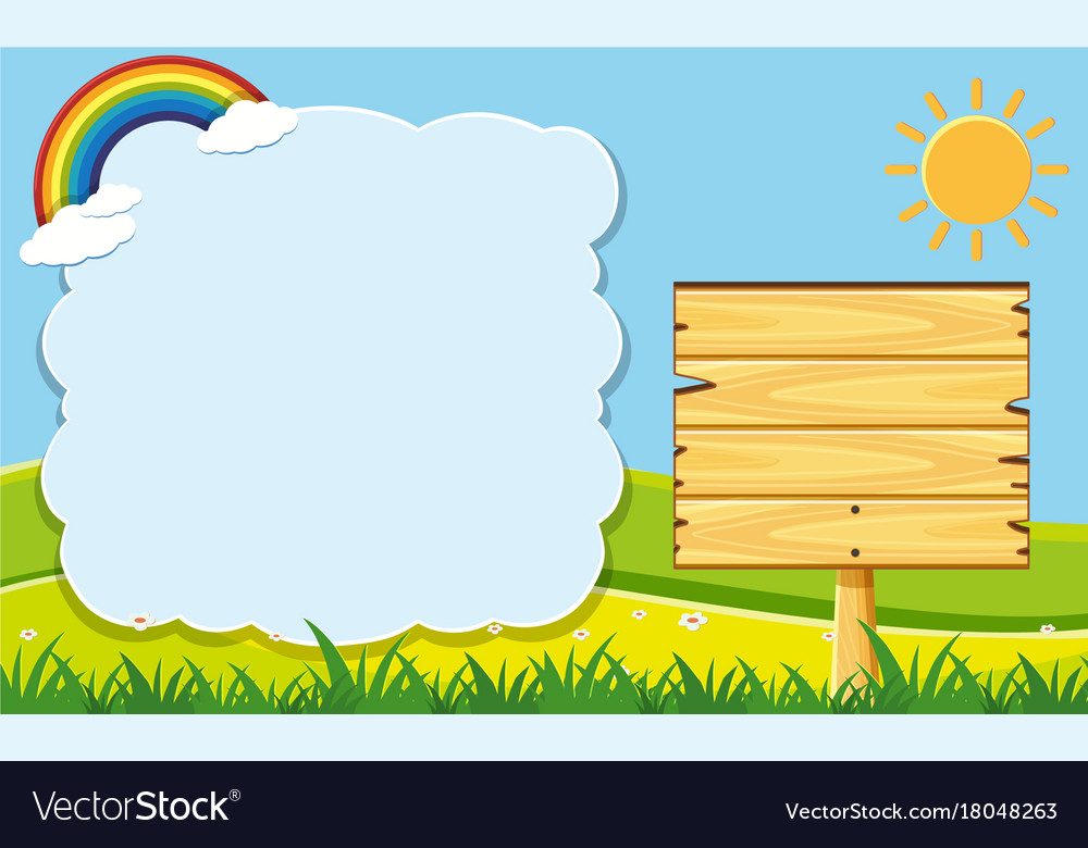 Cloud frame and wooden board in garden Royalty Free Vector