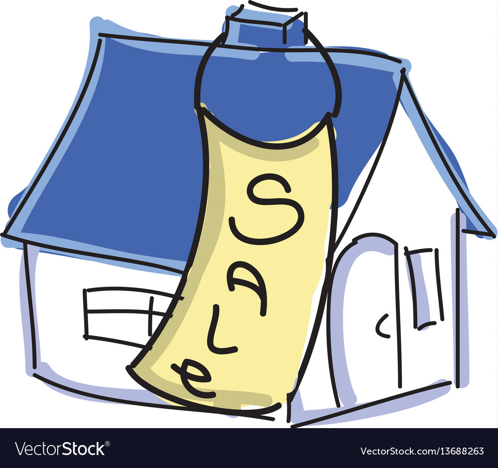 Drawn colored house with blue roof for sale vector image