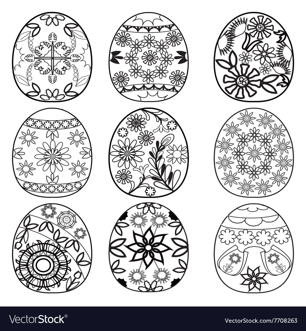Easter Eggs For Coloring Book Royalty Free Vector Image