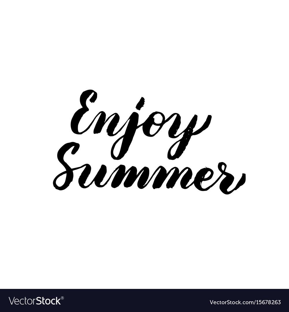 Enjoy summer handwritten lettering vector image